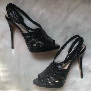 NWOT DIOR Bonnie Black Patent Straps Sandals/Heels